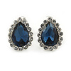 Small Teardrop Midnight Blue/ Clear Stud Earrings In Silver Tone - 13mm