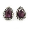 Small Teardrop Purple/ Clear Stud Earrings In Silver Tone - 13mm