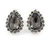 Small Teardrop Dim Grey/ Clear Stud Earrings In Silver Tone - 13mm