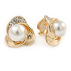 Gold Plated, Crystal, Glass Pearl 3 Petal Flower Clip On Earrings - 18mm