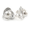Silver Tone Crystal, Faux Glass Pearl 3 Petal Flower Clip On Earrings - 18mm