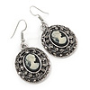 Vintage Inspired Oval, Hematite Grey Crystal Cameo Drop Earrings In Antique Silver Tone - 45mm L