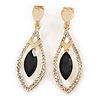 Exquisite Black Glass, Clear Crystal Leaf Clip On Earrings In Gold Plating - 50mm L
