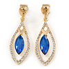 Exquisite Sapphire Blue Glass, Clear Crystal Leaf Clip On Earrings In Gold Plating - 50mm L