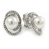 Oval Clear Crystal, White Faux Pearl Clip On Earrings In Silver Tone - 18mm