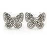 Silver Plated Clear Austrian Crystal 'Alegria' Butterfly Stud Earrings - 18mm Width