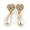 Crystal Heart with Cream Coloured Faux Pearl Drop Earrings In Gold Tone Metal - 38mm L