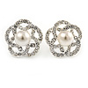 Clear Crystal White Faux Glass Pearl Floral Stud Earrings In Silver Tone - 20mm D