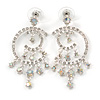 Bridal/ Prom/ Wedding Clear/ AB Crystal Crescent & Stars Chandelier Earrings In Silver Tone Metal - 55mm L