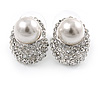 Clear Crystal Faux Glass Pearl Oval Stud Earrings In Rhodium Plating - 18mm L