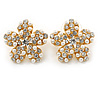 Clear Crystal, Faux Pearl Flower Stud Earrings In Gold Tone - 25mm Diameter