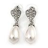 Clear Crystal Faux Pearl Teardrop Earrings In Rhodium Plated Metal - 37mm L