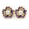 Purple Enamel, Clear Crystal Faux Glass Pearl Flower Stud Earrings In Gold Tone Metal - 20mm D