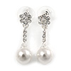 Delicate Crystal Floral, Faux Pearl Drop Earrings In Silver Tone - 35mm L