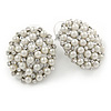 Rhodium Plated White Faux Glass Pearl, Clear Crystal Oval Stud Earrings - 25mm L