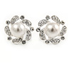 20mm Clear Crystal White Simulated Glass Pearl Flower Stud Earrings In Silver Tone Metal