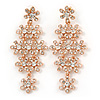 75mm Statement Clear Crystal Floral Chandelier Earrings In Rose Gold Tone