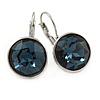 Midnight Blue Round Glass Drop Earrings In Rhodium Plating with Leverback/ French Hook Closure - 27mm L
