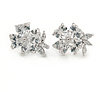 14mm Small Clear CZ Flower Stud Earrings In Rhodium Plating
