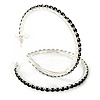 Jet Black Crystal Hoop Earrings In Rhodium Plating - 60mm D