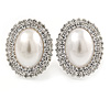 27mm Large Crystal, Simulated Pearl Oval Shape Clip On Stud Earrings In Rhodium Plating