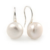 10mm Lustrous White Off-Round Simulated Pearl Earrings In Silver Tone - 20mm L