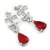 Delicate Clear/ Ruby Red Cz Teardrop Earrings In Rhodium Plated Alloy - 35mm L