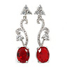 Delicate Clear/ Ruby Red Cz Oval Drop Earrings In Rhodium Plated Alloy - 35mm L
