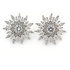 Stunning Clear CZ Floral Stud Earrings In Rhodium Plating - 25mm D