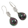 Clear CZ Peacock Black Teardrop Pearl Style Earrings In Rhodium Plating - 40mm L
