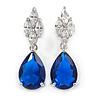 Statement Clear/ Sapphire Blue Cz Teardrop Earrings In Rhodium Plated Alloy - 30mm L