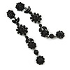 Long Black Crystal Floral Chandelier Earrings In Gun Tone Metal - 11cm L
