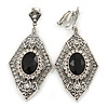 Art Deco Clear/ Black Crystal Drop Clip On Earrings In Silver Tone Metal - 65mm L