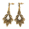 Vintage Inspired Filigree Clear/ Hematite Crystal Chandelier Earrings In Aged Gold Tone - 63mm L