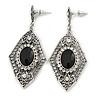 Art Deco Clear/ Black Crystal Drop Earrings In Silver Tone Metal - 65mm L