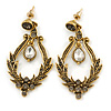 Vintage Inspired Clear/ Grey Crystal Textured Chandelier Earrings In Aged Gold Tone - 55mm L