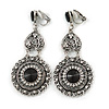 Vintage Inspired Chandelier Black Crystal Filigree Clip On Earrings In Aged Silver Tone - 65mm L