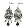 Vintage Inspired Crystal Chandelier Earrings In Silver Tone - 65mm L