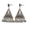 Vintage Inspired Chandelier Crystal Filigree Earrings In Aged Silver Tone - 60mm L