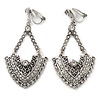 Vintage Inspired Chandelier Crystal Clip On Earrings In Aged Silver Tone - 60mm L