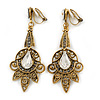 Vintage Inspired Filigree Clear/ Hematite Crystal Clip On Chandelier Earrings In Aged Gold Tone - 63mm L