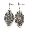 Vintage Inspired Crystal Filigree Leaf Drop  Earrings In Aged Silver Tone - 65mm L