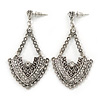 Vintage Inspired Chandelier Crystal Earrings In Aged Silver Tone - 60mm L