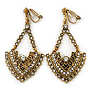 Vintage Inspired Chandelier Crystal Clip On Earrings In Aged Gold Tone - 60mm L