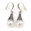 Marcasite Hematite Crystal Faux Pearl Drop Earrings In Silver Tone - 45mm L
