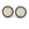 Vintage Inspired Round Milky White Acrylic Stone Clip On Earrings In Aged Silver Tone - 25mm D