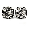 Vintage Inspired Crystal Square Stud Clip On Earrings In Aged Silver Tone - 20mm L