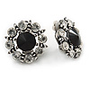 Clear/ Black Crystal Flower Clip On Earrings In Aged Silver Tone Metal - 22mm D