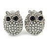 Silver Tone Crystal Faux Pearl Owl Stud Clip On Earrings - 20mm L