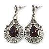 Vintage Inspired Teardrop Crystal, Faux Pearl Dangle Earrings In Aged Silver Tone - 50mm L